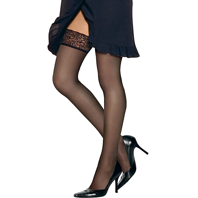 5501cc6572549 Hanes Women`s Set of 3 Silk Reflections Lace Top Thigh Highs: Amazon.ca:  Clothing & Accessories