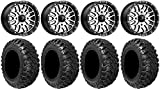"Bundle - 9 Items: MSA Machined Brute 15"" UTV Wheels 30"" Kanati Mongrel Tires [4x137 Bolt Pattern 12mmx1.5 Lug Kit]"