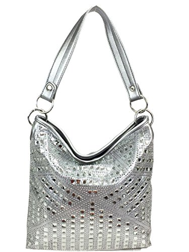 (Zzfab Concealed Carry Gem Geometry Hobo Bag Pewter)