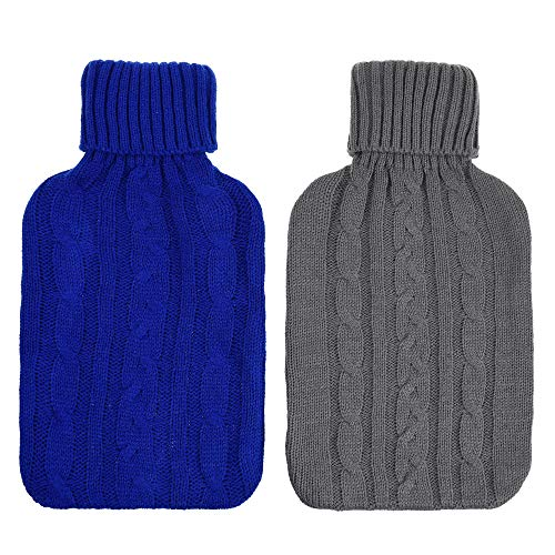 Water Hot Knitted Cover Bottle - Cosmos Pack of 2 Knitted Cover for 2000 ml Hot Water Bottle Rubber Winter Warmer for Women Kids (Cover Sleeves Only)