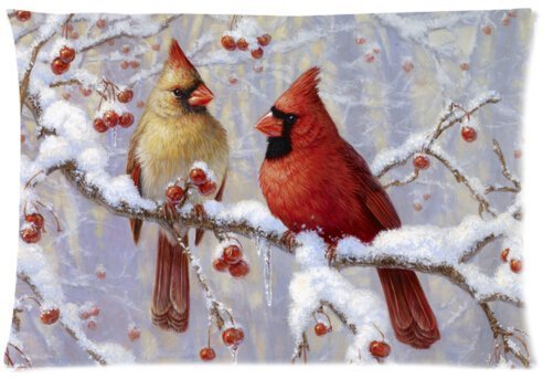 Winter Cardinal Birds Cotton Polyester Pillow Case Cover Standard Size 12 x 20 Inches