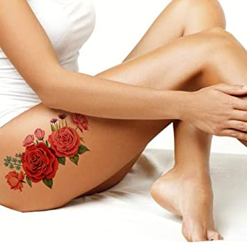 Large Small Red Pink Black Roses Flower Temporary Tattoos Women Arm