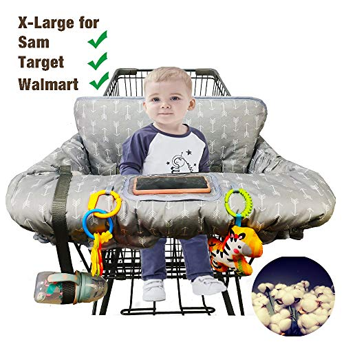 Shopping Cart Cover for Baby Cotton High Chair Cover Full Safety Harness, Machine Washable for Infant, Toddler, Boy or Girl Large (Arrow Printing)