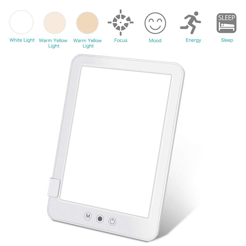 Light Therapy, Portable Light Therapy Lamp with 3 Lighting Color Modes Touch Control Adjustable Brightness and Colors Compact Size