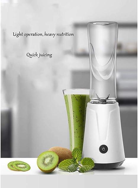 WZB Mini licuadora de jugos, Botella mezcladora de Frutas con Taza de Jugo, licuadora batidora Individual, Taza de licuadora de Seguridad eléctrica, licuadora Batidos y Batidos, 600 ml, Blanco: Amazon.es