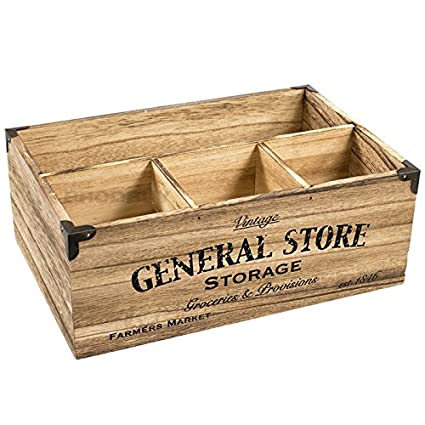 4 Compartment Vintage Wooden Crate Storage Box