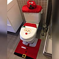Saim Santa Claus Toilet Seat Cover and Rug Set for Bathroom Christmas Decorations with Tank Tissue Box Cover
