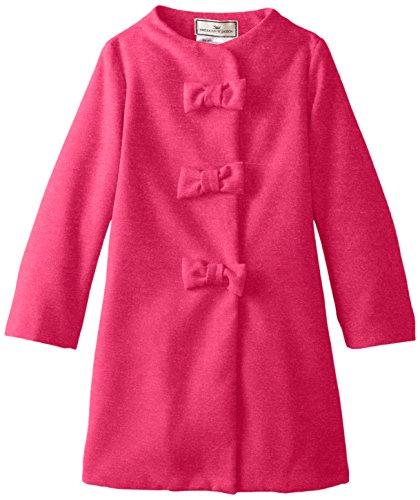 (Widgeon Girls' Big Faux Wool Triple Bow Coat, Fuchsia, 12 )