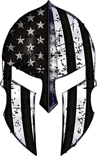 Warriors-Bleed-Silver-Spartan-Helmet-Metallic-Thin-Blue-Line-Decal