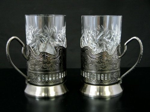(Combination of 2 Russian CUT Crystal Drinking Tea Glasses W/metal Glass Holders Podstakannik for Hot or Cold Liquids by Belarus)
