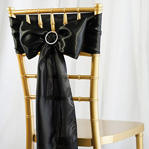 BalsaCircle 50 Black Satin Chair Sashes Bows Ties for Wedding Decorations Party Supplies Events Chair Covers Decor Banquet Reception