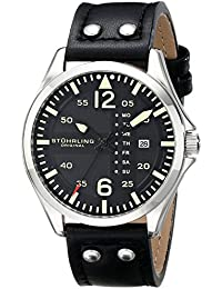 Men's 699.01 Aviator Quartz Day and Date Watch With Black Leather Strap