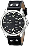 Stuhrling Original Men's 699.01 Aviator Quartz Day and Date Watch With Black Leather Strap