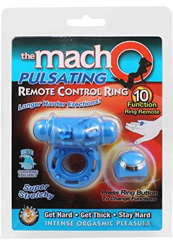 Macho Pulsating Remote Control Ring Blue