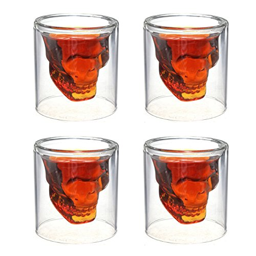 Crystal Skull Shotglass,4PCS Skull Glass Cup,Double Layer Transparent Skull Pirate Shot Glasses Drink Cocktail Beer Cup,Wine Cup,Drinking Ware Mugs,Thick Base Creative Halloween Mug 2.5oz(75ml) (4)