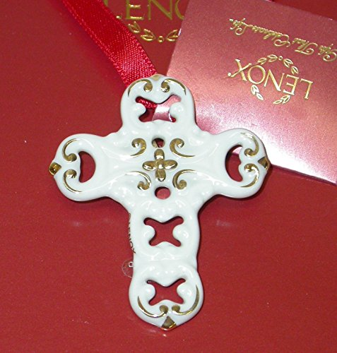 Lenox Christmas Ornament Series Pierced Cross Charm Pin / Pendant