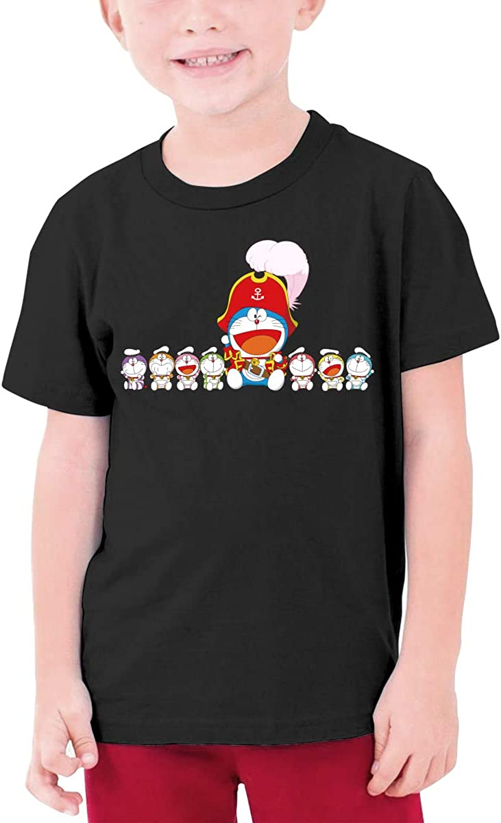 Runxin Custom Doraemon The Big and The Small Sit in A Row Funny T Shirts O-Neck for Teenagers Black