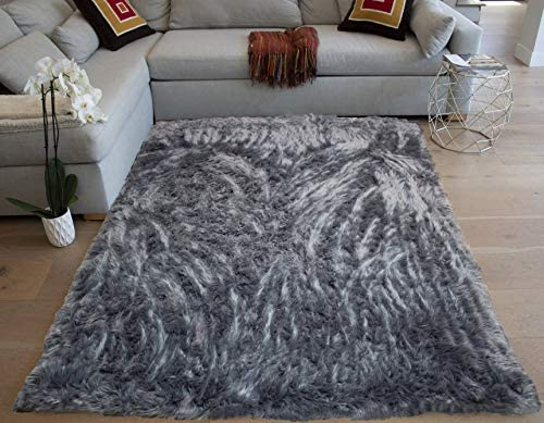 5 x7 Feet Charcoal Gray Grey Colors Solid Plush Pile Faux Fur Rug Sheepskin Area Rug Lambskin Carpet Fuzzy Furry Modern Contemporary Decorative Designer Indoor Bedroom Living Room Office Space Studio