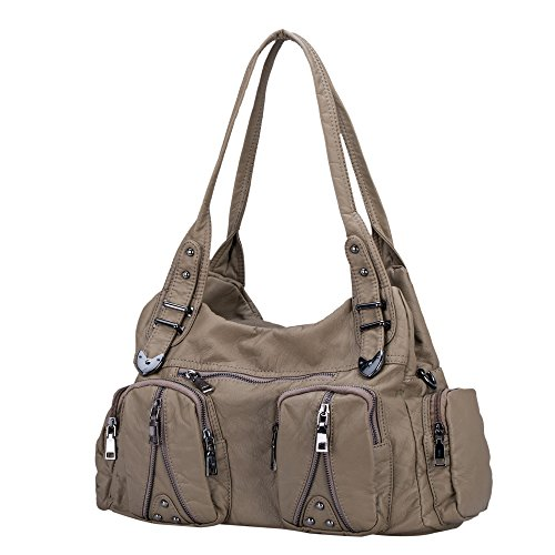 Classic Shoulder Bag Purse Soft Washed Leather Hobo Handbag Crossbody Bag for Women (Khaki) Pocket Large Handbag