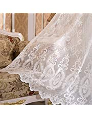CGYH Ivory Lace Curtain Sheer 72 Inch Long Rod Pocket Voile Drape Jacquard Embroidery European Floral Design for Glass Door Window Tulle Curtains for Living Room, 1 Panel W39 x L72 inch