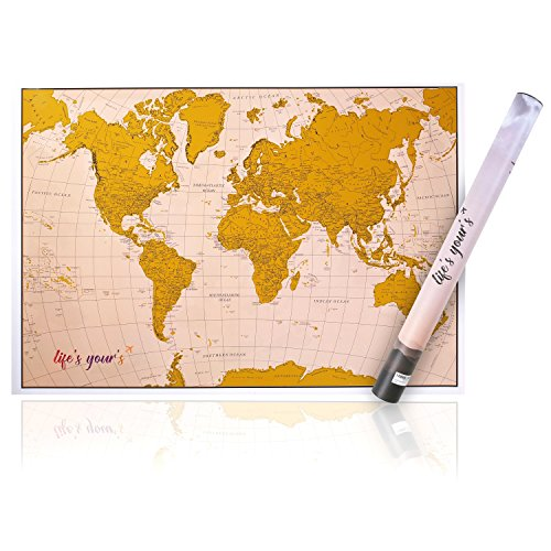 New Gold Unique Scratch Off World Map   Scratchable Personalized Travel Accesories With Modern Design Tube   Scratch Pen   Great Decoration  Travel Gifts For World Traveler And Children