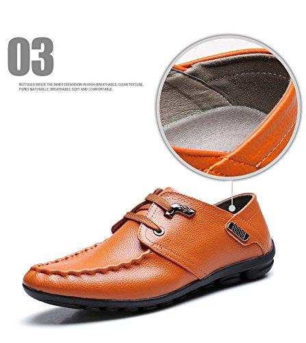 Gaorui Män Business Casual Klädsel Formell Lädersko Mjuk Vingspets Snörning Platt Eu38-42 Giallo Marrone