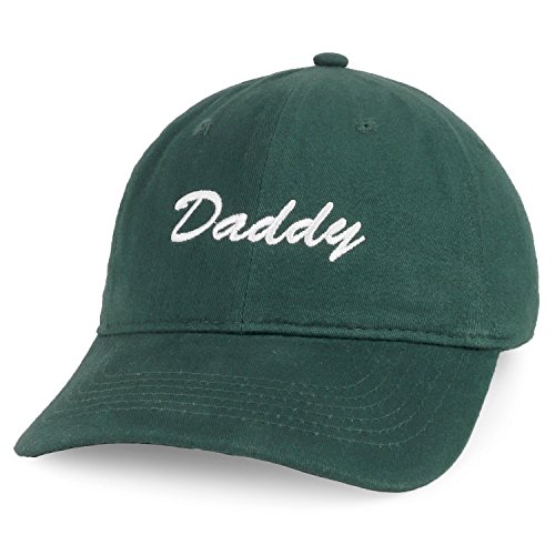 - Trendy Apparel Shop Daddy Script Font Embroidered Low Profile Soft Cotton Baseball Cap - Hunter