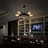 Industrial Semi Flush Mount Vintage Ceiling Chandelier Light Steampunk Pendant Lamp Metal Fan Style