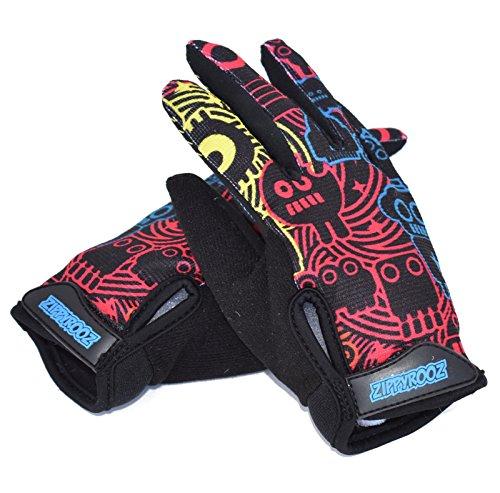 ZippyRooz Toddler & Little Kids Full Long Finger Bike Gloves (Robots, Little Kids XL (7-8))