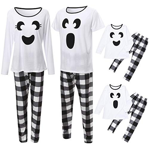 Family Matching Sleepwear,Crytech Comfy Cotton Cartoon Print Black White Plaid Pajamas Set Soft Long Sleeve Sleepshirts Checked Pants Parent Kids Child Nightgowns Pjs Collection (2X-Large, Dad)