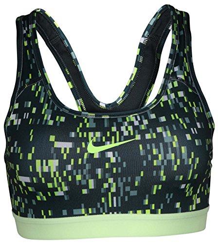 Nike Women's Dri-Fit Pro Classic Padded Training Sports Bra-Dark Green/Yellow-Small