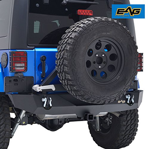 EAG Jeep JK Rear Bumper W/ Tire Carrier and Third Brake Light Bracket
