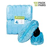 SHEEFLY 100 Pack Disposable Boot Shoe Covers, Water Resistant, Non-Slip, Non-Toxic, Durable Recyclable Boot Covers, Thick Shoe Protectors for Indoor Carpet Floor Usage Medical Museum Workplace