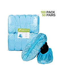 SHEEFLY 100 Pack Disposable Boot Shoe Covers,Waterproof Non-Slip Non-Toxic Shoe Booties, Durable Recyclable Shoe Protector,Thick Shoe Cover for Indoor Carpet Floor Usage Medical Museum Workplace