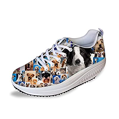 FOR U DESIGNS Fashion Animal Print Fitness Walking Sneaker Wedges Platform Shoes for Women
