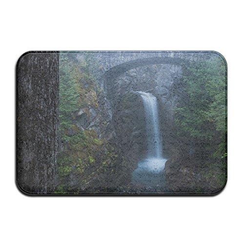 DDIAN Nature Landscape Long Exposure Clouds Mountains Trees Bridge Waterfall Moss Rock Water Washington State USA Non Slip Mat, Kitchen, Toilet, Laundry, Bedroom Or Pet Mat.