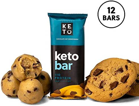 Perfect Keto Bar, Keto Snack, No Added Sugar. 11g of Protein, Coconut Oil, and Collagen, with a Touch of Sea Salt and Stevia. (12 Bars (1 Box), Chocolate Chip Cookie Dough)