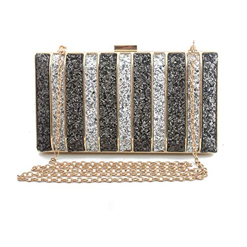 Panelled Sequin Clutch Purse Rhinestones Evening Bag For Women Bridesmaid Chain Bags Purse Gray
