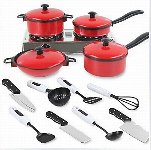LZLAN 13pcs/Sets Pots and Pans Kitchen Cookware for Baby Kids Children Play House Toys Red Cutlery Set Kitchen Utensils Tableware