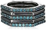 Nicole Miller Artelier Hex Black Rhodium/Teal Set of 5 Stackable Ring, Size 7