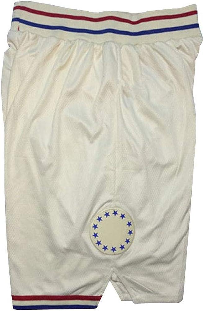 con bolsillo con cremallera estilo retro Sixers pantalones cortos deportivos de baloncesto de secado r/ápido transpirables bordado ligeros para hombre