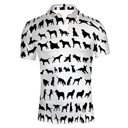 iPrint T-Shirts Leash Paw Print Bone Ornamental Abstract for Mens