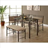 Monarch Specialties Bronze Metal and Cappuccino Marble Dining Set, 3-Piece