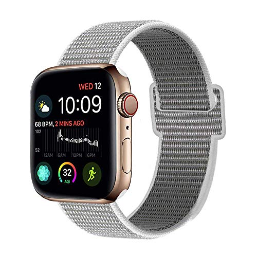Seashell Four Light - METEQI Replacement Bands Compatible with Sport Watch 38mm 40mm 42mm 44mm, Soft Lightweight Breathable Sport Loop Straps for Watch Series 4/3/2/1 (Seashell, 42mm/44mm)
