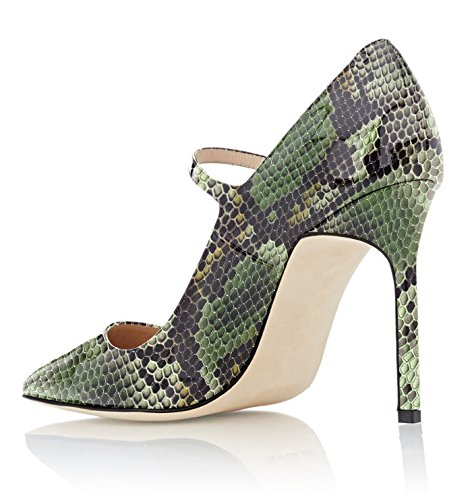 Soireelady 2python Court Pointed Shoes 10cm Toe Party Women's green Weeding For Stiletto Pumps Mary Strap Jane Dress rrzqpZ