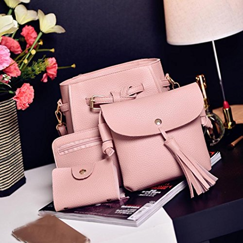 Bags Girls Pcs Pink Wallet Coin Pcs Zipper PU Set Holder Shoulder Tote with Leather Small for Purse Pocket Women Fashion Clutch HCFKJ Bag Handbag School Teenager 4 Card Set Bag 4 wfn6FqOxA7