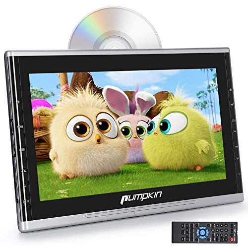 PUMPKIN 10.1 Inch Ultra-Thin Car Headrest DVD Player with Suction Drive, Support 1080P Video, HDMI, AUX, Region Free, AV in Out, USB SD, Last Memory