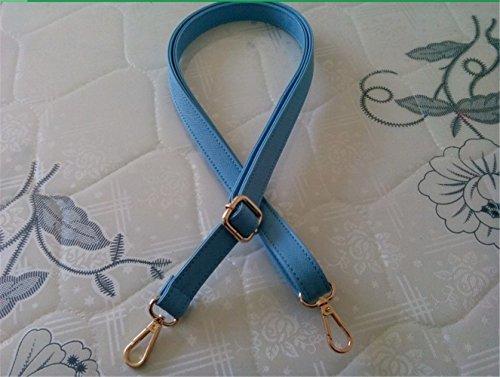 PU leather Maximum length 140cm Adjustable Strap replacement shoulder bag / messenger bag strap DIY (Blue, Wide 3.0cm) ()