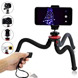 Qualmond Universal Flexible Tripod: Phone, Camera, Gopro Tripod Adapters For Iphone, DSLR, Smartphone-Sturdy, Lightweight, Handy Tripod Stand w/ Bluetooth Remote Control-Octopus Style, Black & Red