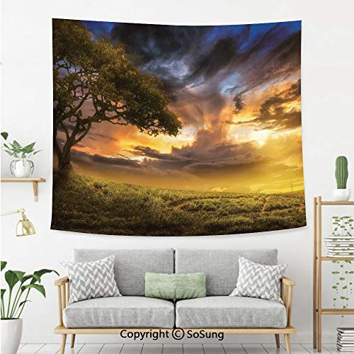 8' Wool Purse - Tree Wall Tapestry,Dreamy Landscape Sunset at Hill Clouds Mystery Contemplation Tranquil Wisdom,Bedroom Living Room Dorm Wall Hanging,80X60 Inches,Green Yellow Blue